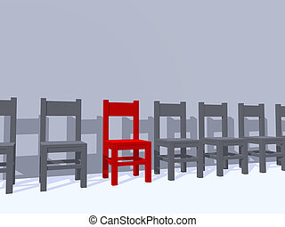 individual place - row of chairs, one in red - 3d...