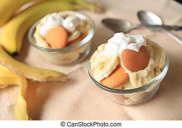 Individual portions of banana puddi - Individual servings of...