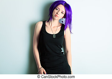 individual - Portrait of a punk girl with purple hair.