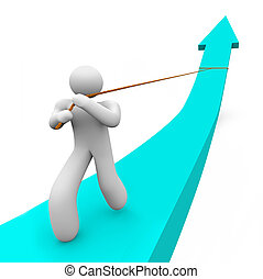 A single person works alone to pull up a growth arrow