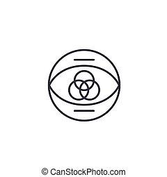 Individual vision linear icon concept. Individual vision line vector sign, symbol, illustration.