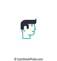 Individual vision vector thin line stroke icon. Individual vision outline illustration, linear sign, symbol concept.