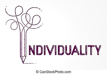 Individual word with pencil instead of letter I, ...