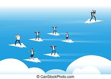 individuale, pensare, e, nuovo, direction., uomini affari,...