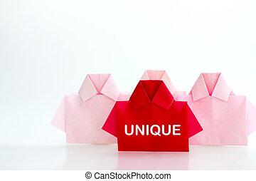 individualidad, único, camisa, concept., uno, papel, liderazgo, origami, blanco, diferencia, o, rojo