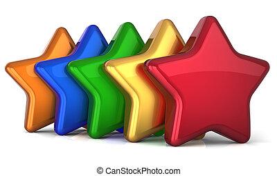 individualidade, cinco, multicolor, estrelas
