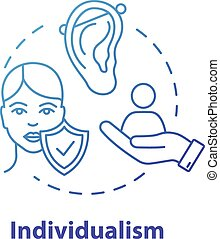 Individualism blue concept icon. Self-affirmation. Freedom ...