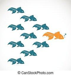 individualité, concept, projection, success., image, vecteur, direction, poisson rouge, éditorial