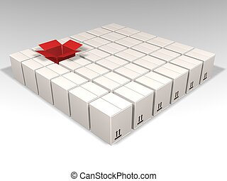 3D render of lots of white boxes with just one red one open