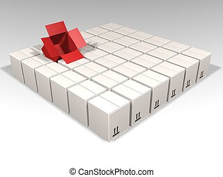 Individuality - 3D render of lots of white boxes with just...