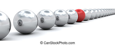 Individuality - 3D render of one red ball amongst lots of...