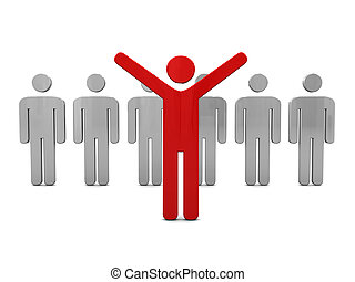 Individuality - abstract 3d illustration of man standing out...