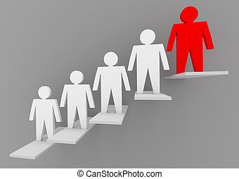 Individuality and leadership concept
