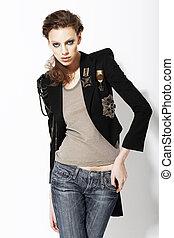 individuality., bello, eccentrico, modella, in, jeans, e, bijou, su, giacca