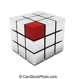 Individuality - 3D render of a cube with one red block