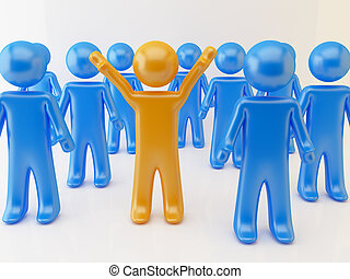 3d rendering of leader concept. Orange and blue persons.