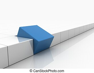 Individuality concept - blue square standing out