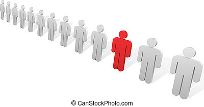 Individuality concept. One red abstract person figure in the row of white ones.