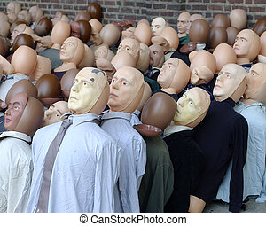 Group of dolls representing a crowd of people