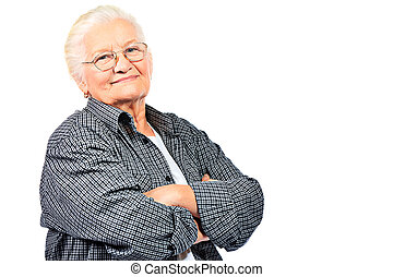individuality - Happy senior woman smiling at the camera....