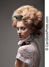 individuality., haute, couture., swanky, mulher, com, cabelo colorido