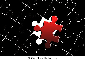 Red puzzle on a black-and-white background. It is a symbol (individuality, originality).