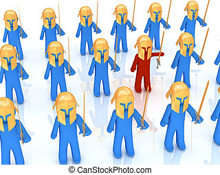 Individuality - Red warrior staying near blue warriors. 3d...