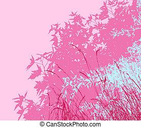 individually, être, différent, morningthe, coloré, edited, facilement, -, feuillage, séparé, déplacé, couches, rose, vecteur, illustration, ils, graphiques, ainsi, ou, paysage, boîte