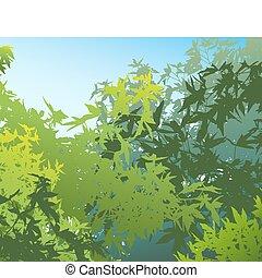 individually, verano, diferente, follaje, colorido, ser, -, edited, separado, movido, capas, illustrationthe, gráficos, vector, tan, lata, ellos, fácilmente, o, paisaje