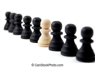 individuo, ajedrez, gente
