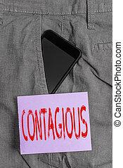 individuo, palabra, contacto, o, paper., dentro, formal, directo, indirecto, dispositivo, pantalones, frente, empresa / negocio, trabajo, smartphone, contagious., bolsillo, escritura, transmissible, infected, nota, texto, concepto