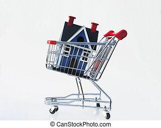 indkøb, by, en, hjem