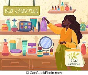 indkøb, eco, afrikansk, kosmetikker, kvinde