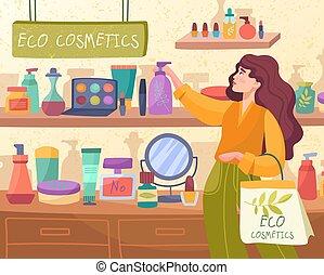 indkøb, eco, holdning, kosmetikker, kvinde