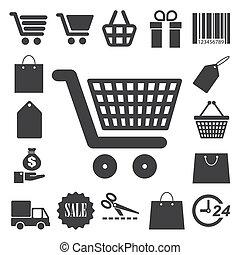 indkøb, iconerne, set., illustration