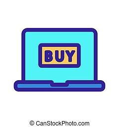 indkøb, ikon, kontur, internet, illustration, symbol, isoleret, vector.