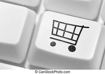 indkøb, knap, online, keyboard., shop.