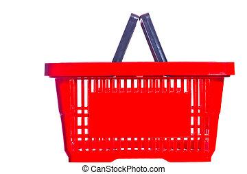 indkøb, plastik, baggrund, kurv, hvid, tom
