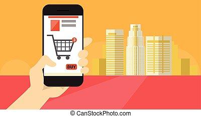 indkøb, telefon, hånd, celle, ansøgning, online, greb, ...