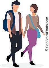 indo casa, par, segurando, namorada, lessons., aluno, apartamento, illustration., adolescente, namorado, characters., feliz, vetorial, namorando, mãos, estudantes, após, adolescentes, schoolgirl, schoolchildren