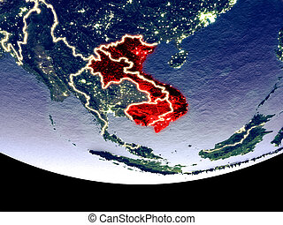 Indochina at night from space - Satellite view of Indochina ...
