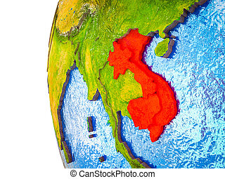 Indochina on 3D Earth - Indochina highlighted on 3D Earth ...