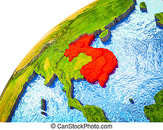 Indochina on 3D Earth model with visible country borders. 3D...