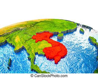 Indochina on 3D Earth with visible countries and blue oceans...