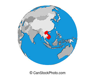 Indochina on 3D globe isolated