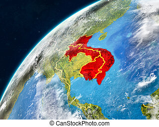 Indochina on Earth with borders - Indochina on realistic ...