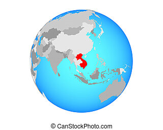 Indochina on globe isolated