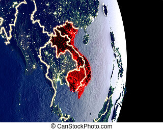 Indochina on night Earth - Satellite view of Indochina at ...