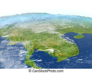 Indochina on planet Earth - Indochina. 3D illustration with ...