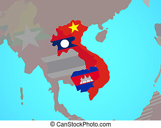Indochina with flags on map - Indochina with national flags ...